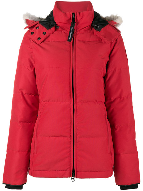 canada goose parka fur fox women cotton red coat
