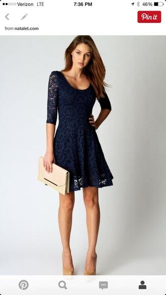 dress lace dress navy blue dress skater dress