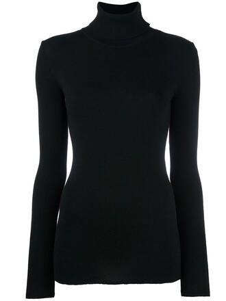 jumper women turtle black wool sweater