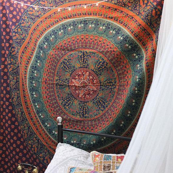 Blue Elephant Tapestries Indian Hippie mandala tapestry Dorm Elephant Mandala Bedspread Boho bohemian Tapestry Bird tapestry wall hanging