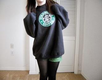sweater starbucks coffee cardigan jumper black green