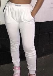 pants,siangie twins,white,joggers,sweatpants
