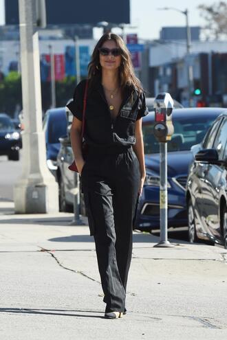 sunglasses streetstyle fall outfits emily ratajkowski pants jumpsuit
