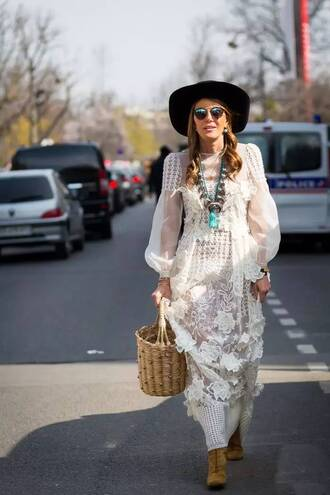 bag basket bag nude bag straw bag maxi dress lace dress white lace dress long sleeve dress necklace hat black hat boots lace up boots suede boots brown boots sunglasses mirrored sunglasses streetstyle anna dello russo