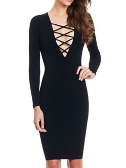 e2a686177d9f Black Deep V Neck Lace Up Slim Dress -SheIn(Sheinside)