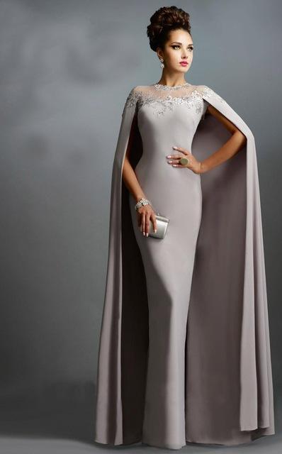 a1ac213ac Aliexpress.com  Comprar Plata largo manto de noche vestidos sirena Vestido  de fiesta 2015 Vestido de ...