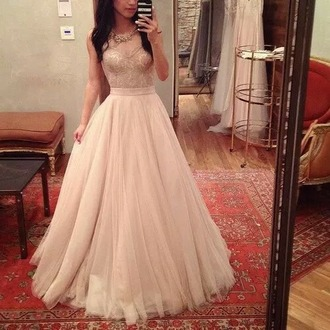 dress ros? prom dress long dress floor length dress nude pink long prom dress 2016 prom dress v-neck prom dress tulle prom dress elegant prom dress nude dress gown