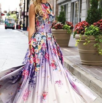 dress floral dress purple red pink blue yellow girl prom city flowers ball gown dress prom dress prom gown