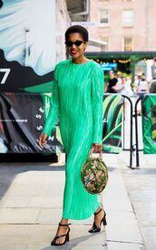 dress,long dress,green dress,shoes,sunglasses