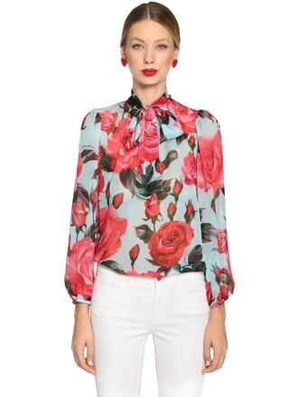 shirt chiffon silk roses multicolor top