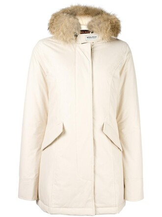 coat parka women white cotton