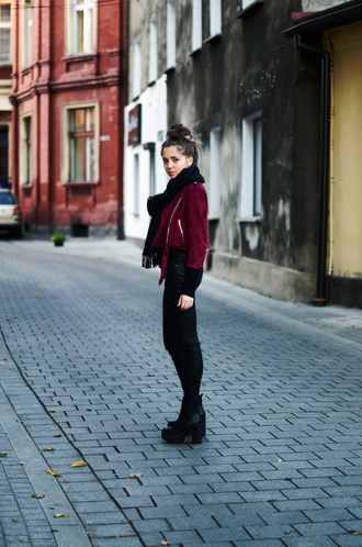 blogger jacket jestem kasia scarf suede jacket