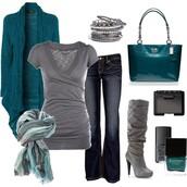 shoes,shirt,jeans,scarf,boots,bag,purse,grey,teal,aqua,casual,clothes,silver,cardigan,nail polish,bracelets,set bracelets,bangle,turquoise,silver bracelet,heels,grey heels,sweater