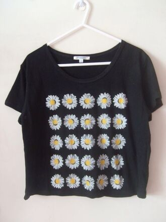 shirt daisy daisies top pretty perfecto t-shirt summer black flowers white blouse black sunflower cotton skirt flowers crop tops crop flower shirt top paquerette graphic tee daisy top