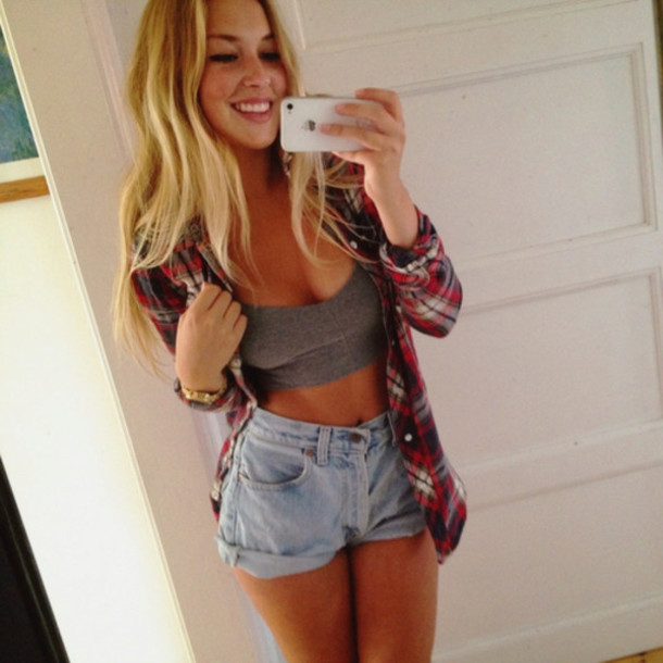 Flannel High Waisted Denim Shorts - Shop for Flannel High Waisted ...