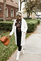 the courtney kerr,blogger,bag,coat,tank top,jeans,shoes,scarf,sunglasses,jewels,fall outfits,white coat,handbag,white boots,winter outfits