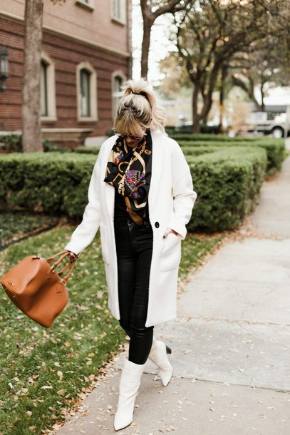 the courtney kerr blogger bag coat tank top jeans shoes scarf sunglasses jewels fall outfits white coat handbag white boots winter outfits