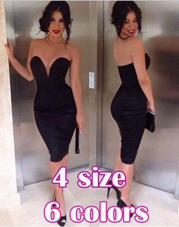 Women Sexy Bodycon Bandage Strapless Tight Waist Jumpsuits Exposed Zipper dress