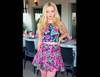 top dove cameron floral skirt two-piece short skirt flowers disney top and skirt skirt and top floral top floral skirt high neck two piece dress set matching skirt and top matching skirt and top set floral skirt dress shirt