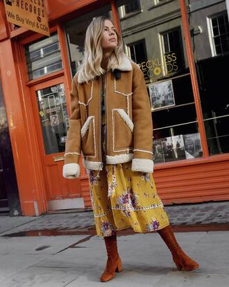 jacket tumblr nude jacket shearling jacket shearling dress midi dress yellow yellow dress boots brown boots