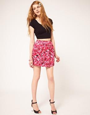Pink asos mini bell skirt in pink floral print at asos mightylinksfo