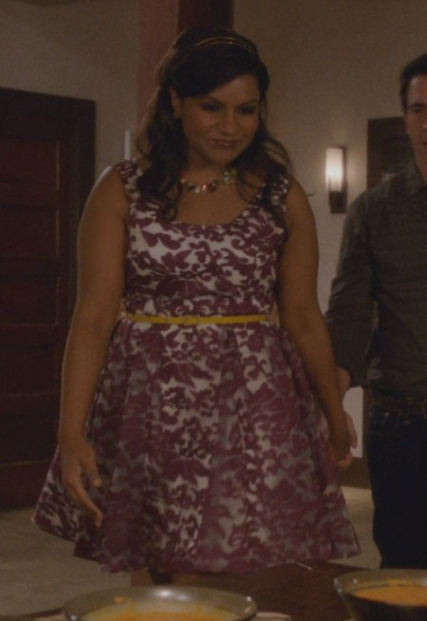 Dress Floral Organza The Mindy Project Mindy Kaling Mindy Lahiri Embroidered Crystal Necklace Foliage Hair Accessory Headband Curvy Wheretoget