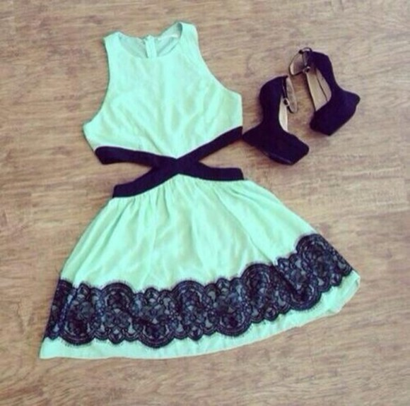 dress teal dress black lace cut outs