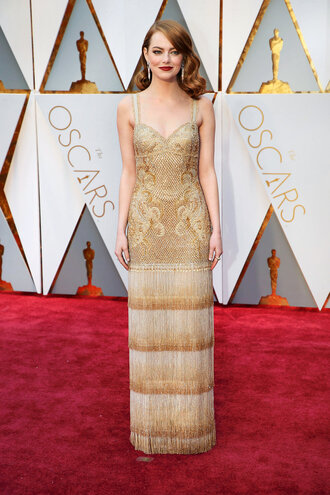 dress emma stone gold oscars 2017 oscars vintage dress
