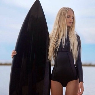 swimwear wear suit bathung wet wetsuit surf bodyboarding boarding black neoprene summer spring sleeves hot cute sexy short pool beach california girl beauty summer sports onesie bikini bikini top