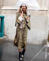dress,midi dress,long sleeve dress,snake print,black boots,jumper,umbrella