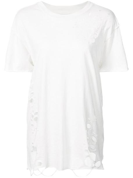 NSF - distressed T-shirt - women - Cotton - S, White, Cotton
