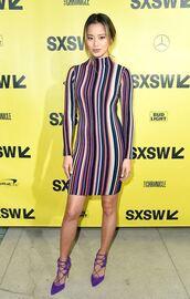 dress,pumps,stripes,striped dress,jamie chung,blogger,bodycon dress,long sleeve dress