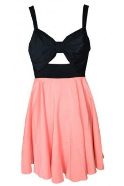 Bow Cut Out Skater Dress (PINK) | modhaus