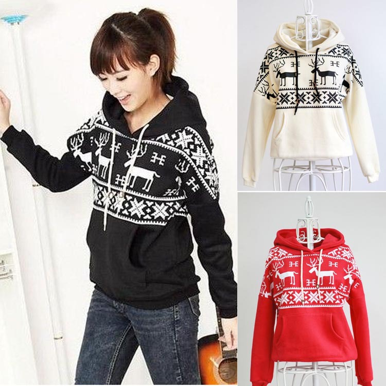 Fashion Women Tops Fleece Snowflake Elk Pattern Hoodie Casual Comfy Hooded Pocket Long Sleeve Sweatshirt WF 3946-in Hoodies & Sweatshirts from Apparel & Accessories on Aliexpress.com