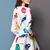 White Round Neck Birds Print Ruffle Flare Dress - Sheinside.com