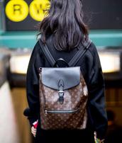 bag,nyfw 2017,fashion week 2017,fashion week,streetstyle,backpack,louis vuitton,louis vuitton backpack,jacket,black jacket