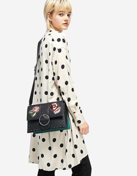 Stradivarius studs embroidered bag crossbody bag black