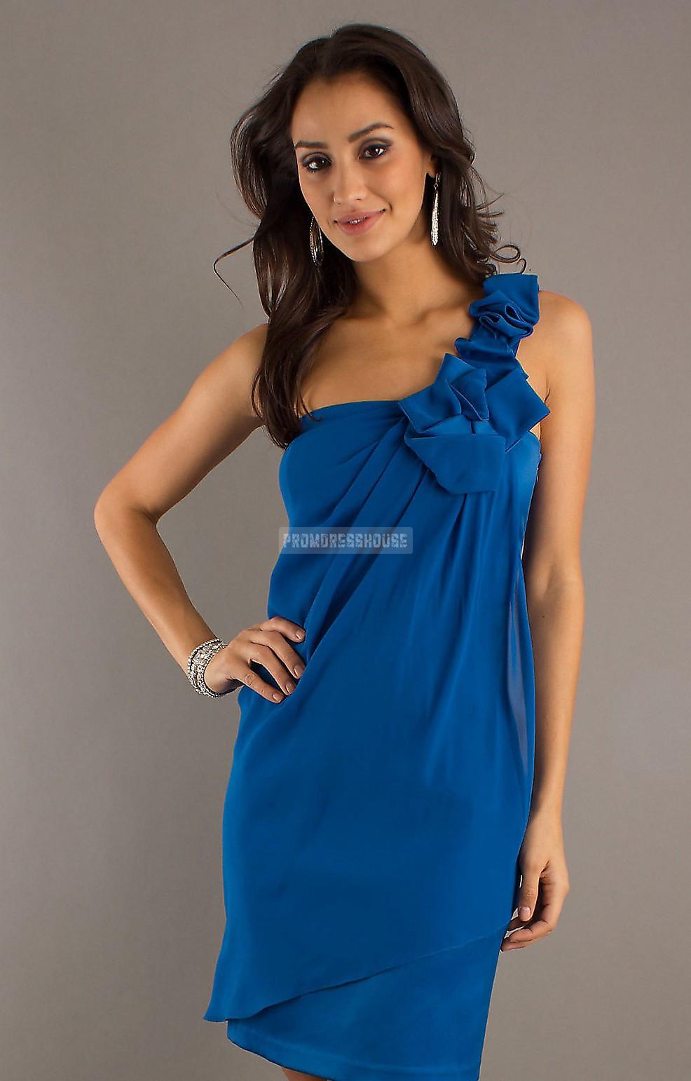 Short Length Blue One Shoulder Ruffles Chiffon Prom Dress - Promdresshouse.com