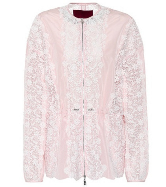 Moncler Gamme Rouge Lace-panelled jacket in pink