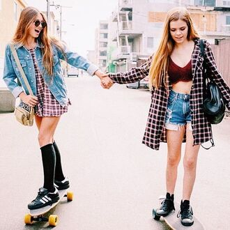 shorts griffin hipster flannel dress shoes converse sneakers bralette bag blonde hair cardigan