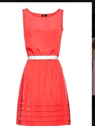 sliver belt coral dress