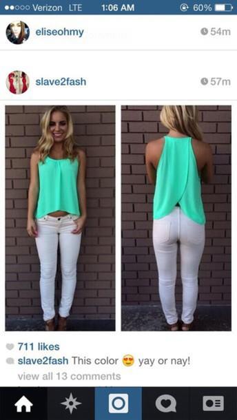 blouse seafoam green