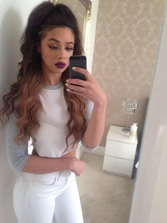 blouse crop tops white and grey