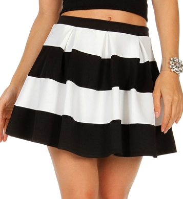 Promo-Black White Stripe Skater Skirt