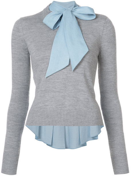 Veronica Beard jumper women layered grey sweater