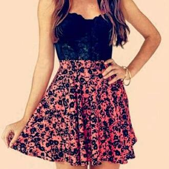 dress floral lace dress black dress pink dress pink black girly vintage skirt cute dress black floral skirt top lace crop tops skater skirt floral skirt floral skater skirt bustier top top cute heart neckline flowy bustier floral bustier tumblr shirt pink skirt with black flowerss