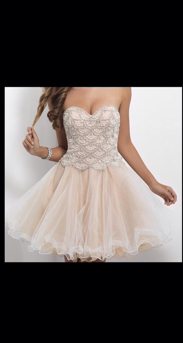 dress cream prom dress strapless