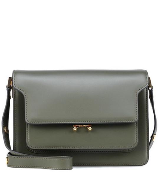 Marni Trunk leather shoulder bag in green