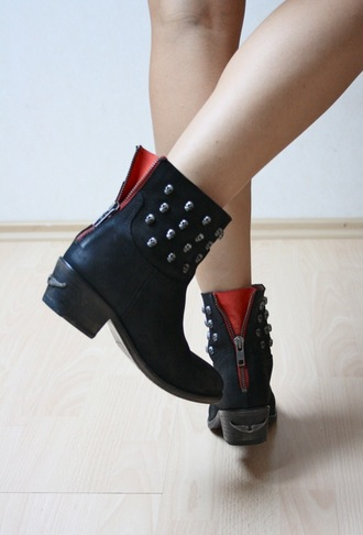 low heels boots black shoes red shoes