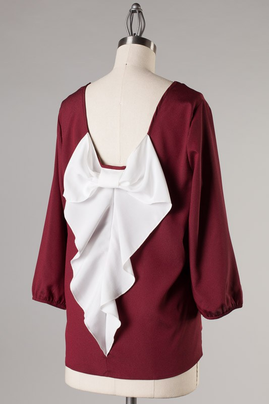 Newbury Kustom Burgundy Blouse with White Bow on Back